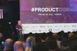 Speaker talking at ProductCon London 2019